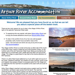 Arthur River Accommodations website