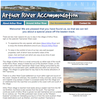 Athur River Accommodation Website Screenshot of Home page