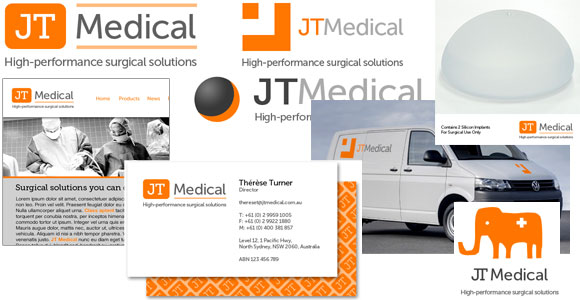JT Medical logo mock-ups