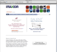 Screenshot of a page of the Imaxeon website