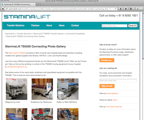 Staminalift website page example